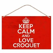 Keep Calm And Love Croquet - Vintage Look Metal Large Plaque Sign 30x20cm