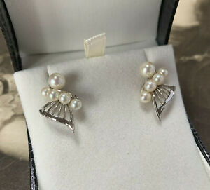 Mikimoto pearl earrings silver butterfly style cultured akoya cluster studs
