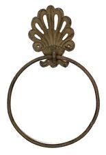 Ornate Crown Fleur De Lis Towel Ring  Brown Cast Iron Set of 2