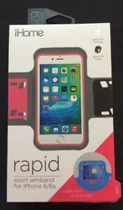 iHome Rapid Sport Armband for iPhone 6  6s Credit Card Pocket Case Thin Pink NEW