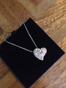 Swarovski Crystal Necklace Heart Pendant- Pretty Pink Heart On Chain.