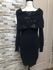 Victoria Secret Moda International Wool Sequin Sweater Dress Black New