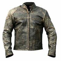 Antique Black Men's Vintage Distressed Retro Motorcycle Biker Leather Jacket