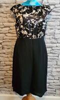 LK Bennett black white sleeveless Dress size 14 uk 100% silk bodice