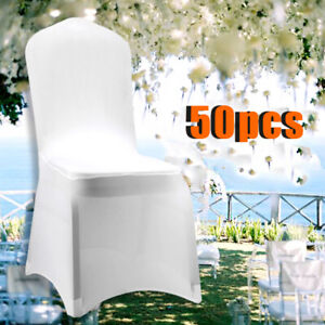 50X Universell Stuhlhussen Stretch Stuhl Husse Stuhlbezug Stuhlüberzug weiß Top