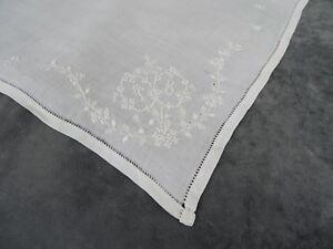 Antique French Fine Whitework Embroidered Handkerchief - Monogram TB