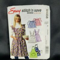 McCalls PATTERN 4958 Apron 3 Versions One Size Hostess Pinafore Bar Cookout CUT