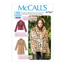McCall's 7847 Sewing Pattern to MAKE Learn to Sew Faux Fur Jacket & Coat XS-XLG