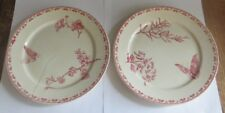 2 assiettes avec fleurs et papillons « Carmen U & C Sarreguemines » - 1 assiette