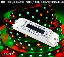 Bc-820 DMX 512 1990 SPI señal Converter descodificador RGB LED stripe ws2801 ws2812b