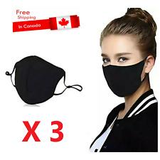 Reusable washable Triple layer Cotton mask Adjustable Unisex 3 QTY