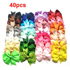 40 Handmade Bow Hair Clip Colorful Alligator Clips Girl Ribbon Sides Accessories