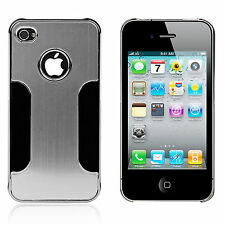 Silver Chrome Aluminum Skin Hard Back Case Cover for Apple iPhone 4 4S
