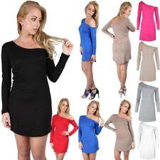 Elastane, Spandex Women's Round Neck Stretch Dresses