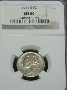 1951 S Jefferson Nickel NGC MS66 Superb Luster, Premium Quality #G336