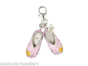 Tingle Sterling silver Charm Clip on Pink Ballet Shoes with Gift Bag and Box