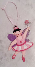 Pink And Purple Glitter Ballerina Fairy Princess Christmas Ornament Decoration