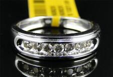 10K Mens White Gold Round Diamond 6MM Channel Set Wedding Band Ring 1/2 Ct