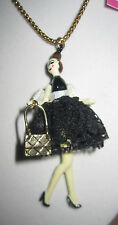 BETSEY JOHNSON PARIS SHOPPING GIRL WITH BLACK DRESS AND PURSE NECKLACE