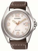 Citizen Eco-Drive Mens Steel / Leather Classic Solar Power watch. AW1430-01A