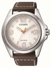 Citizen Eco-drive Aw1430-01a Brown Leather White Dial Analog Men's Watch