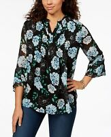 Charter Club Women's Bell Sleeve Split Neck Floral Top Size XL