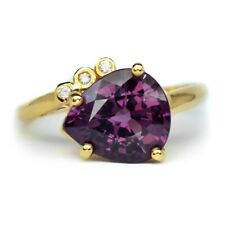 3.70ct Natural Pinkish Purple Spinel With 3pcs 0.03ct VS/G DIAMOND 18K Gold Ring