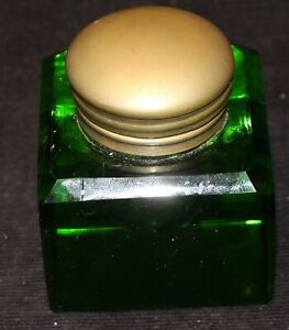 CRYSTAL INKWELL ANTIQUE EMERALD GREEN HAND CUT