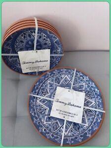 NEW TOMMY BAHAMA Blue Tile Terracotta Melamine Dinner Plates + Bowls 8 Pcs Set