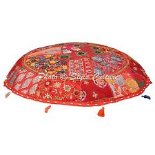 Indian Floor Cushion Cotton Embroidered Seating Ottoman Chair Pouf Cover