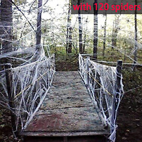 Moon Boat Fake Spider Web Cobweb Halloween Party Decorations Props 1000 sqft wit