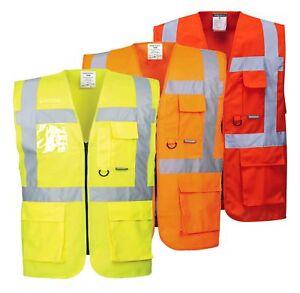 Portwest Berlin Executive Vest Hi Vis Visibility Jacket Pockets Safety S476