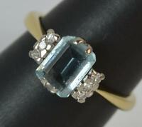 Art Deco Design 18 Carat Yellow Gold Aquamarine and Diamond Ring p0514