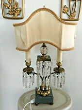 Antique Art Deco 2 Bulb Lamp w/ Hanging Crystals and Brass Detailing Regency