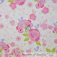BonEful Fabric FQ Cotton Quilt Flannel White Pink Purple Bird Flower Rose Heart