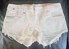 River Island Ladie's White Jean Hot Pants Shorts Size 10