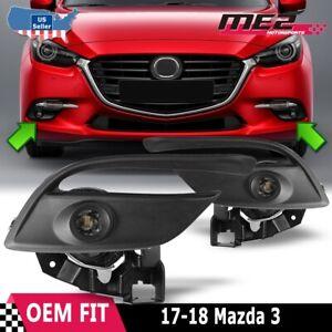 For 2017-2018 Mazda 3 LED Clear Fog Lights Wiring+Trim Bezel+Switch Kit