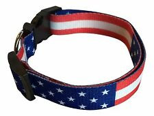 Duke's Patriotic Dog Collar & Leash American Flag Red White Blue July 4th USA