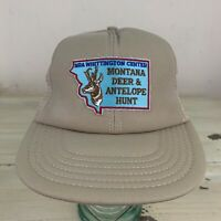 MONTANA DEER & ANTELOPE HUNT - NEW Vtg Khaki NRA Patch SnapBack Mesh Trucker Hat