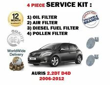 FOR TOYOTA AURIS 2.2 DT D4D DIESEL 2006-> OIL AIR FUEL POLLEN FILTER SERVICE KIT