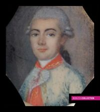 ANTIQUE FRENCH SCHOOL 18th CENTURY MINIATURE PAINTED WATERCOLOR PORTRAIT OFFICER