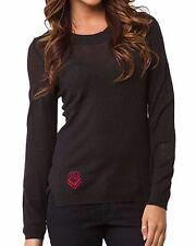 METAL MULISHA Women's Black Casual Knit Embroidered Nirvana Long Sleeve Sweater