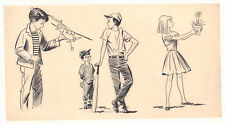 Four Children with Hobbies Illo Model Airplane, Baseball 60's art by George Papp Comic Art