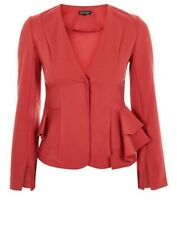 CL17# TOPSHOP LADIES PEPLUM FITTED RED JACKET BLAZER SIZE UK 10 RRP £49