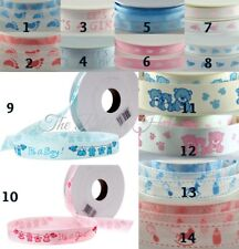 5Mtrs, Lengths of Baby Ribbon 14 Designs 10mm, 15mm 16mm Grosgrain and Organza