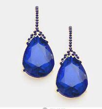 "2"" Long Gold Royal Blue Dangle Rhinestone Austrian Crystal Pageant Earrings"