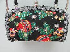 Christmas Holiday Handbag Purse Signed! Little Birdy , Va boutique Black Silver