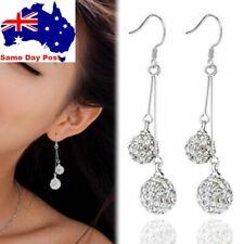 Women Fashion Silver Plated Crystal Ear Stud Jewellery Hook Dangle Earrings Gift