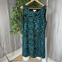 MONSOON Green Black Geometric Print Hearts SIZE 14 UK Sleeveless Shift Dress