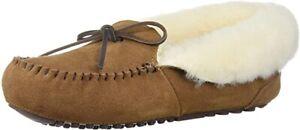 Dearfoams Women's Fireside Brisbane Shearling Foldover Moccasin Slipper size 8